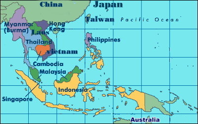 Map Of Southeast Asia And South Pacific.Southeast Pacific